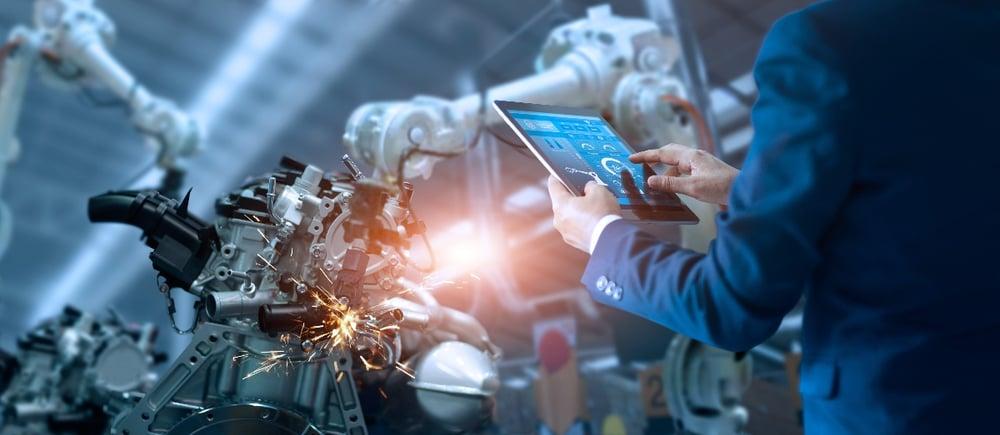 Robot industriel sur site de production